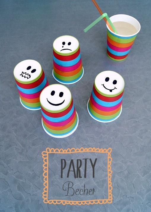 Kinderparty DIY: Smiley-Becher