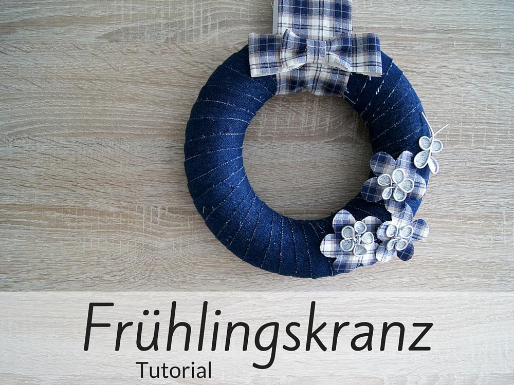 Frühlingskranz aus Jeans und Draht - Fantasiewerk