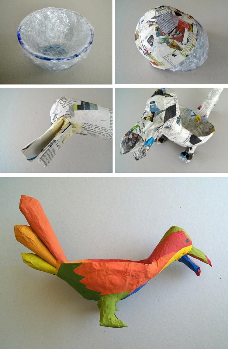 Diese Schale ist als Tier getarnt und ein wunderbares Bastelprojekt mit Pappmache für Kinder