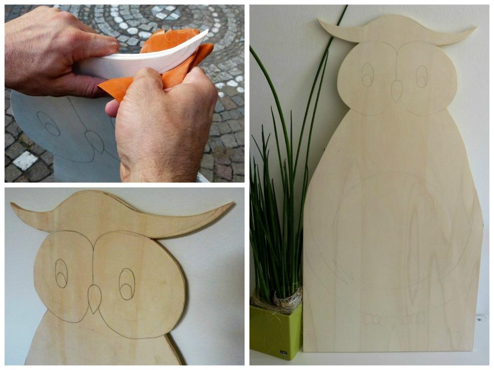DIY-Kinderspiegel: Sperrholzplatte zu einer Eule ausschneiden, bemalen und Spiegel draufkleben.
