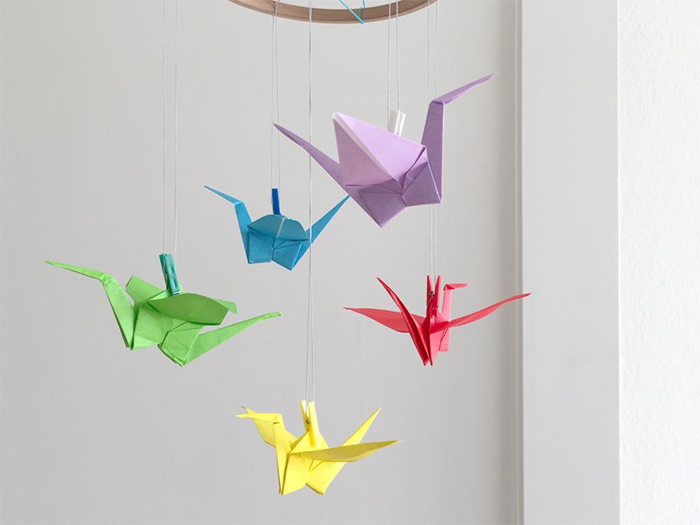 Origami Kranich Mobile