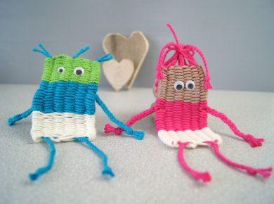 Kinder basteln - Mann und Frau weben - mit buntem Garn und Wackelaugen | von Fantasiewerk