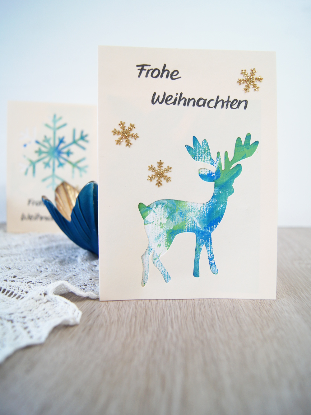 weihnachtskarte mit kleinkindern gestalten malen mit. Black Bedroom Furniture Sets. Home Design Ideas