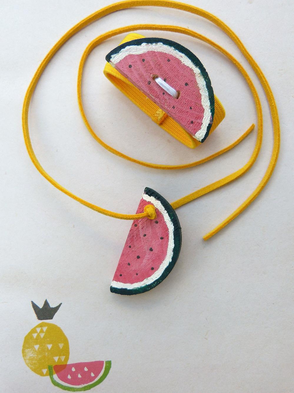 Wassermelonenschmuck für Kinder selbstgemacht | www.fantasiewerk.ch