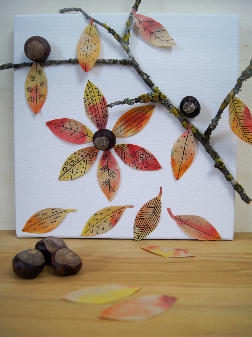 Basteln und Experimentieren mit Kindern im Herbst: Gestalte ein Bild mit bunten #Herbstblättern und #Naturmaterialien | von Fantasiewerk