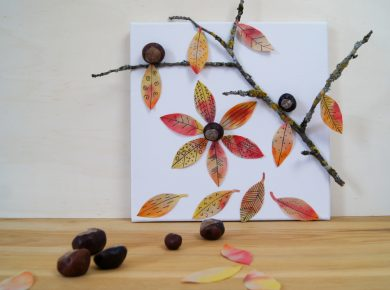 Basteln und Experimentieren mit Kindern im Herbst: Gestalte ein Bild mit bunten #Herbstblättern und #Naturmaterialien   von Fantasiewerk