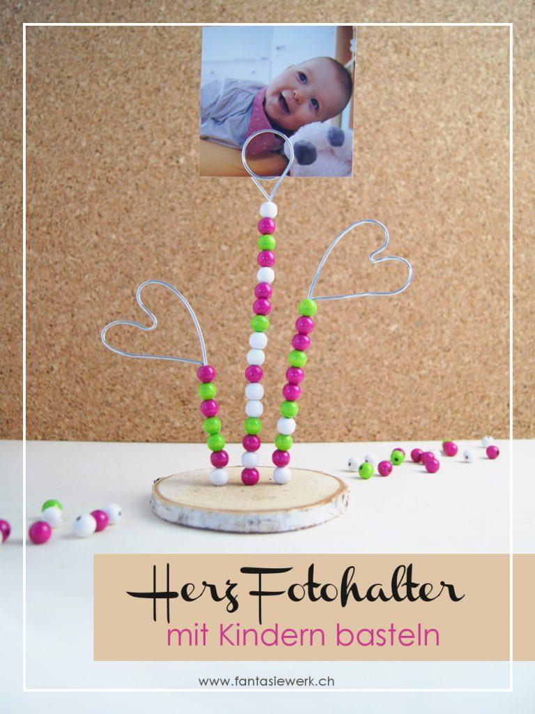 Fotohalter Herz mit Perlen - Kinder basteln ein Geschenk zum Valentinstag | von Fantasiewerk