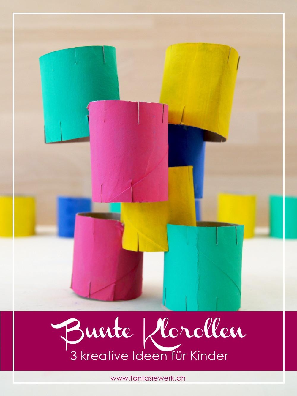 3 kreative Spielideen und Bastelideen zum Basteln mit Kindern mit Klorollen. Kinder malen, schneiden, stecken und fädeln so gerne. Das alles geht auch mit Toilettenpapierrollen. | von Fantasiewerk | #bastelnmitkindern