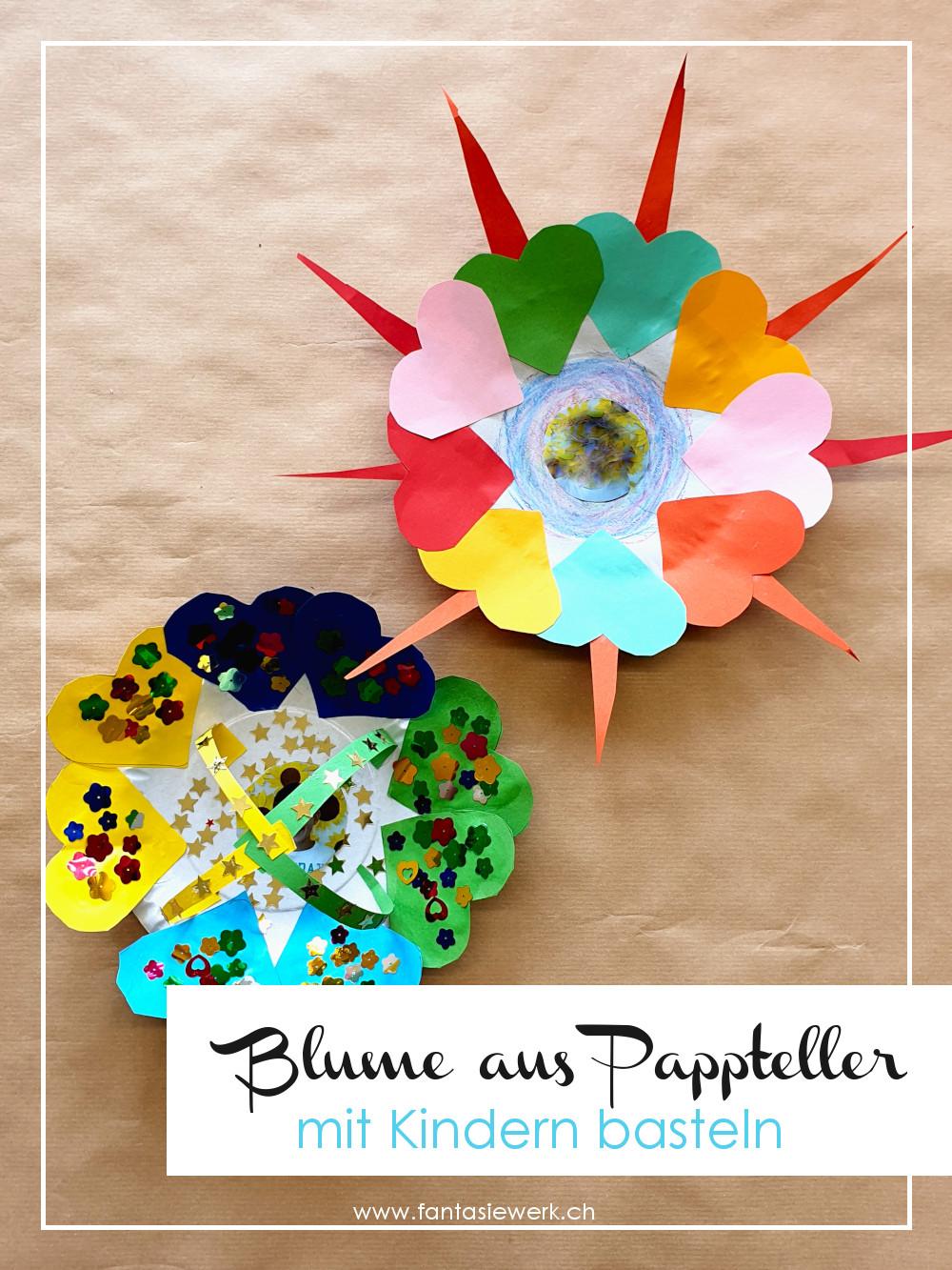 Blume aus Papptellern basteln mit Kindern | Kreativ - Angebot zum individuell Gestalten | von Fantasiewerk