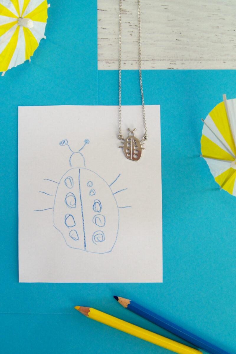 Aus einer Zeichnung wird ein Schmuckstück | Halskette aus Kinderzeichnung machen | als Weihnachtsgeschenk oder zum Geburtstag | Tipps zum Malen mit Kindern | von Fantasiewerk
