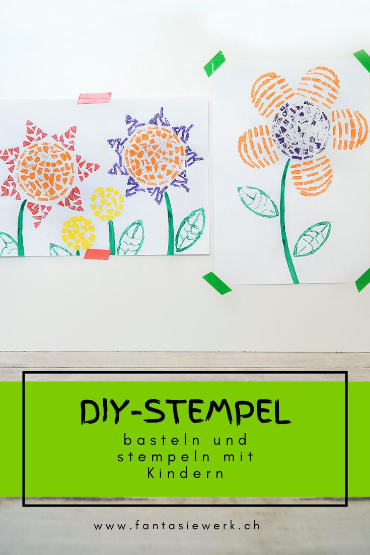 Stempel aus Karton selbermachen | Anleitung Upcycling und Naturmaterialien | #bastelnmitkindern drucken und malen | von Fantasiewerk