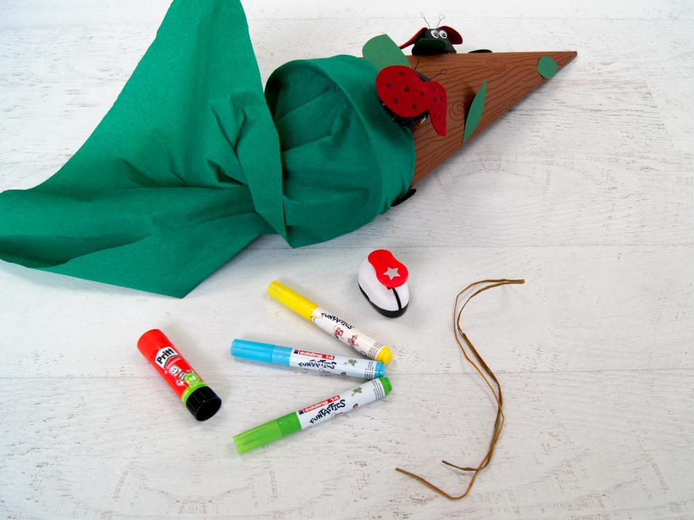 Schultüte basteln für Schulanfang | Basteln für Kinder | Anleitung von Fantasiewerk